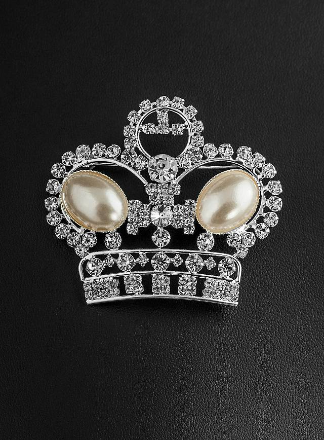 Rhinestone Crown with Pearls Brooch