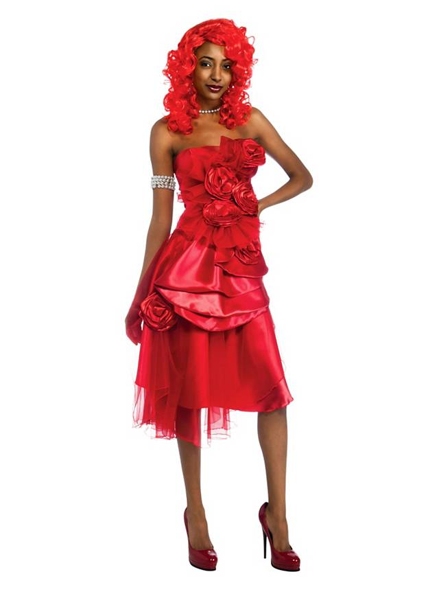 Rihanna Bandeaukleid rot Kostüm inkl. Perücke - maskworld.com