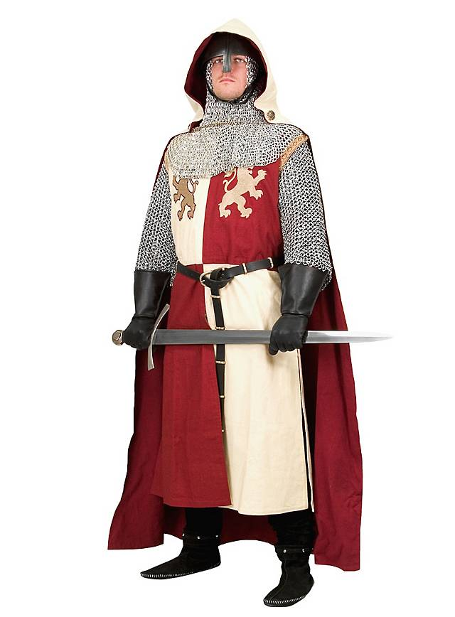 Ritterlicher Reiterumhang weiß-rot