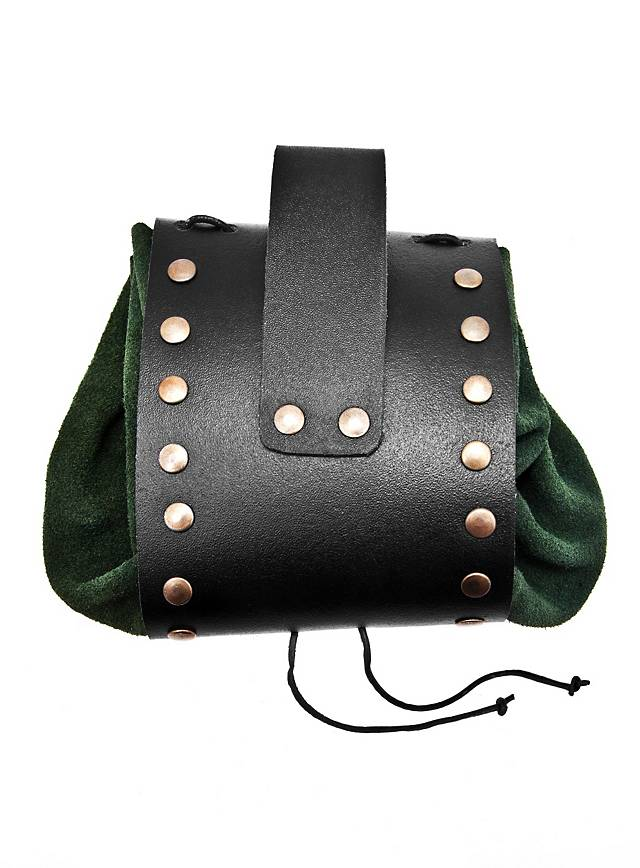 riveted leather belt pouch green