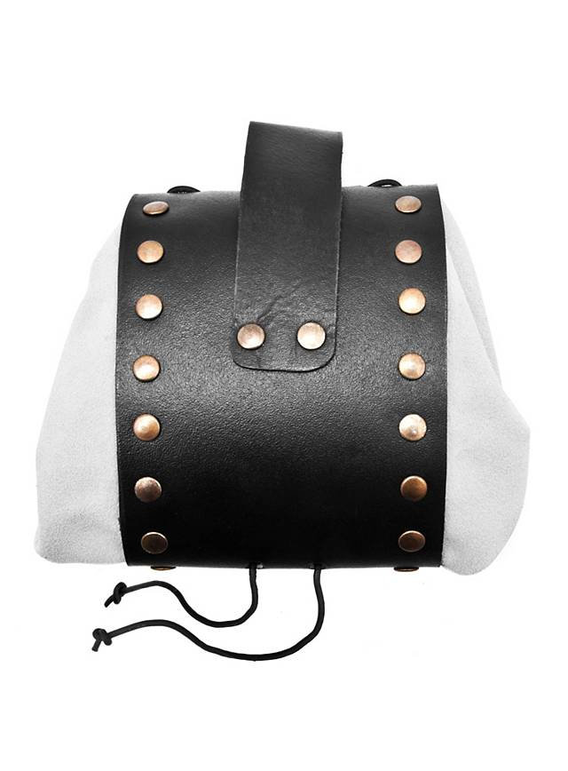 riveted leather belt pouch white maskworld