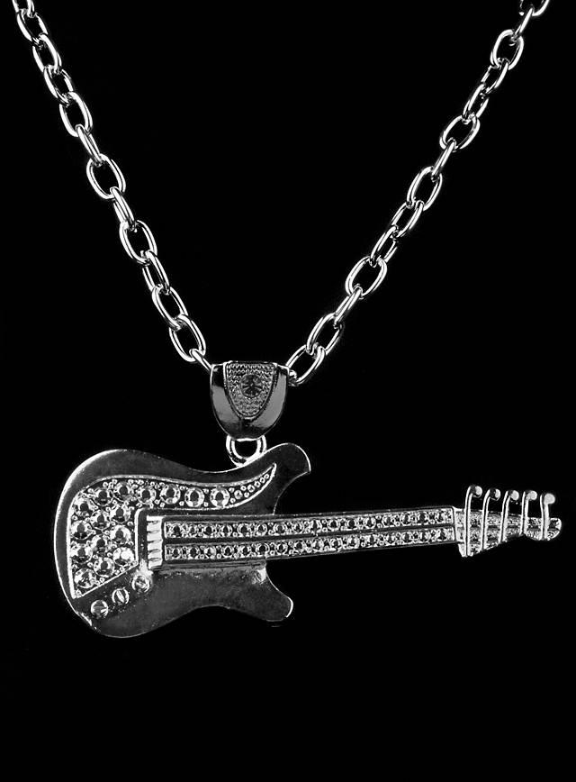 Rockstar Gitarre silbern Medaillon