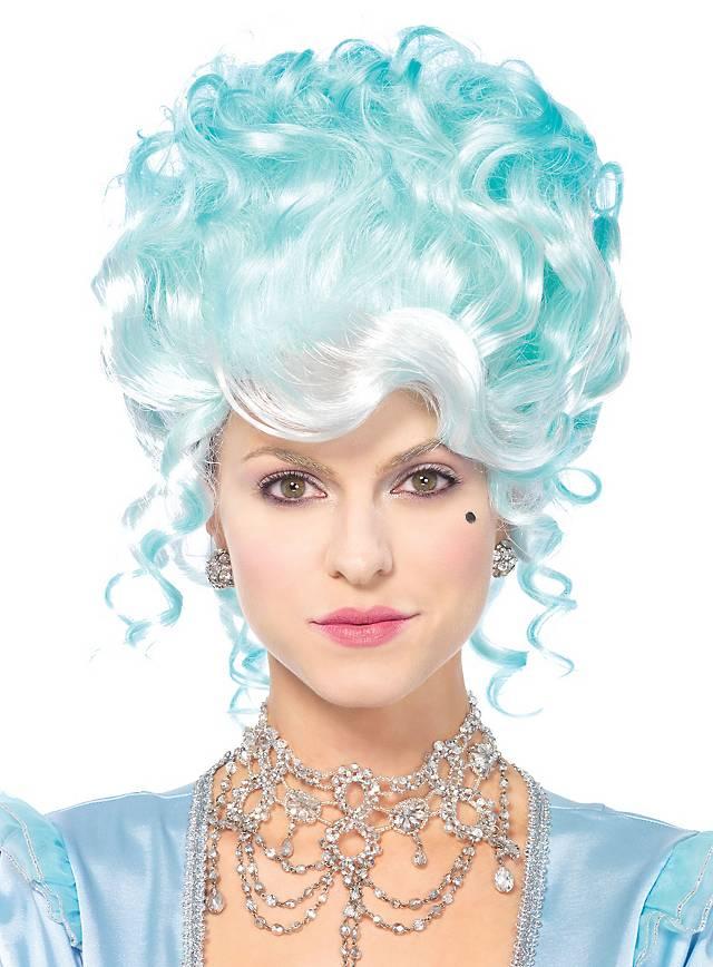 Rococo curly wig pastel-blue