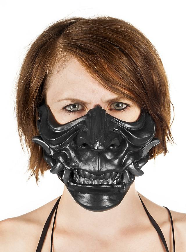 Samuraimaske aus Kunstharz schwarz