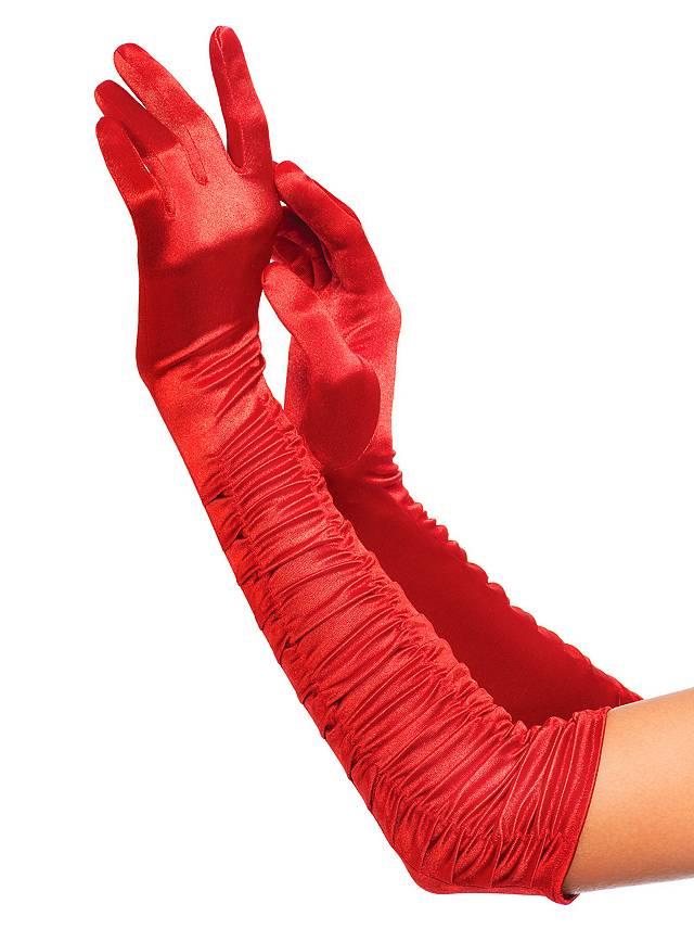 Satin Handschuhe rot mit Raffungen