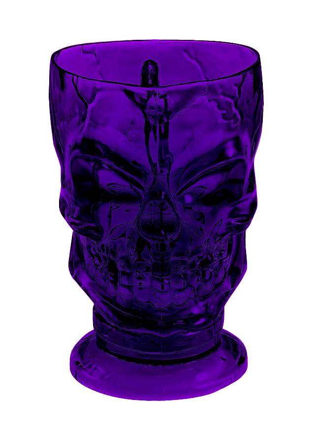 Schädel Becher violett Halloween Deko
