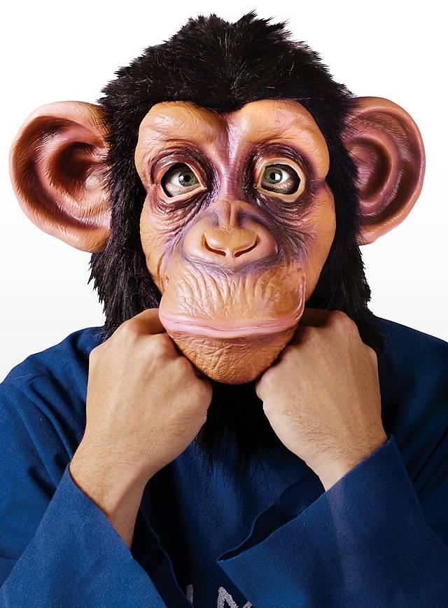 Schimpanse klassisch Maske aus Latex mit Fell