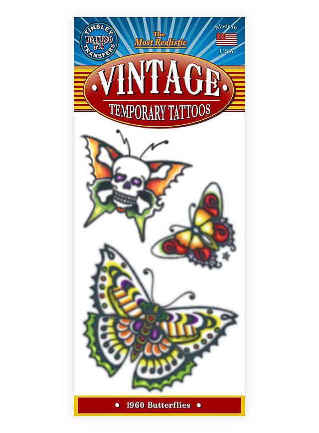 Schmetterlinge Vintage Klebe-Tattoo