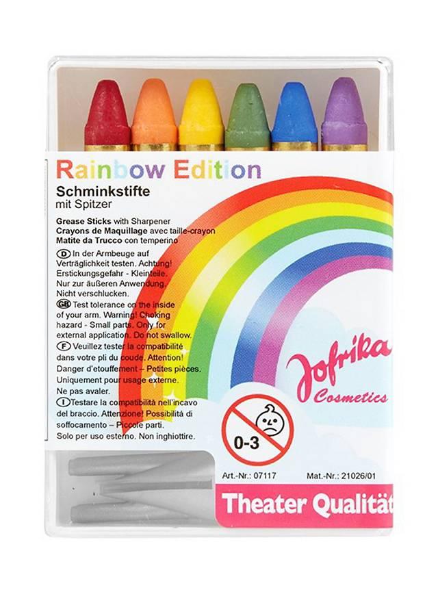 Sechs Regenbogen Schminkstifte mit Spitzer