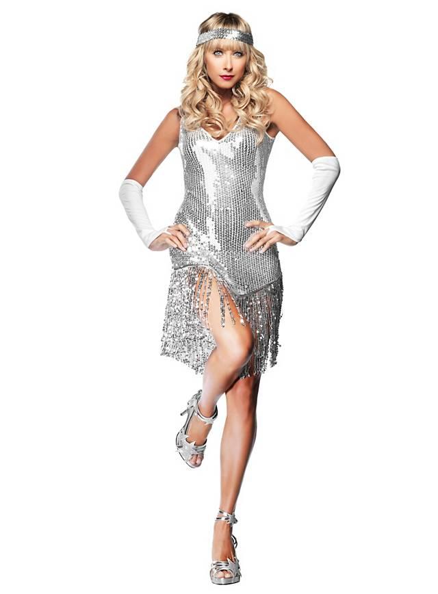 Sexy Charleston weiß Kostüm