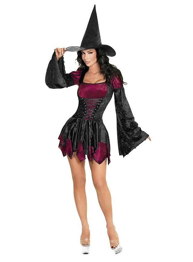 Halloween Hexe Kostüm Schminke Ideen Kragen Federn Haare Gesteckt