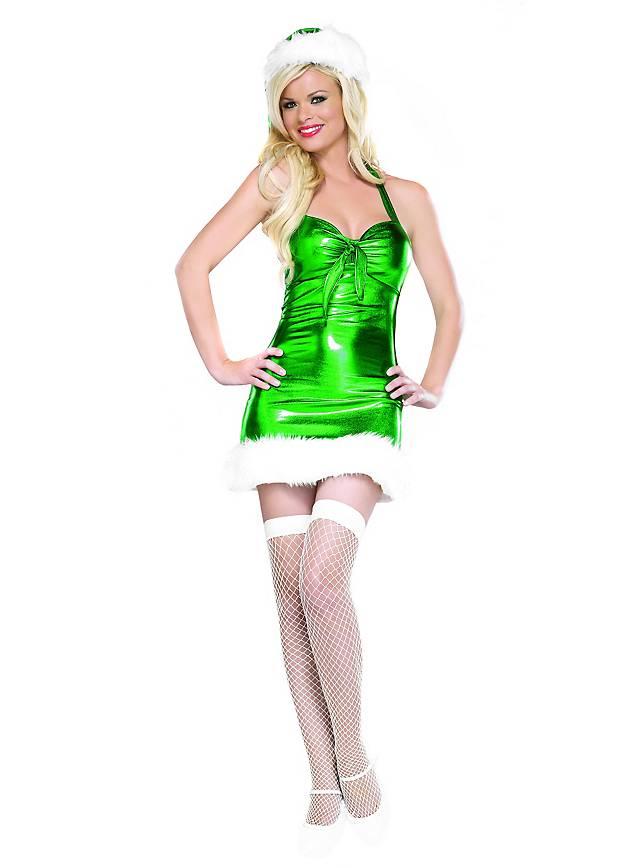 Sexy Santa Girl grün Kostüm