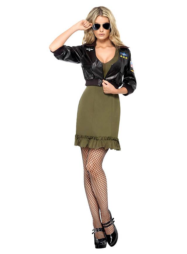 Sexy Top Gun Dress & Bomber Jacket Costume