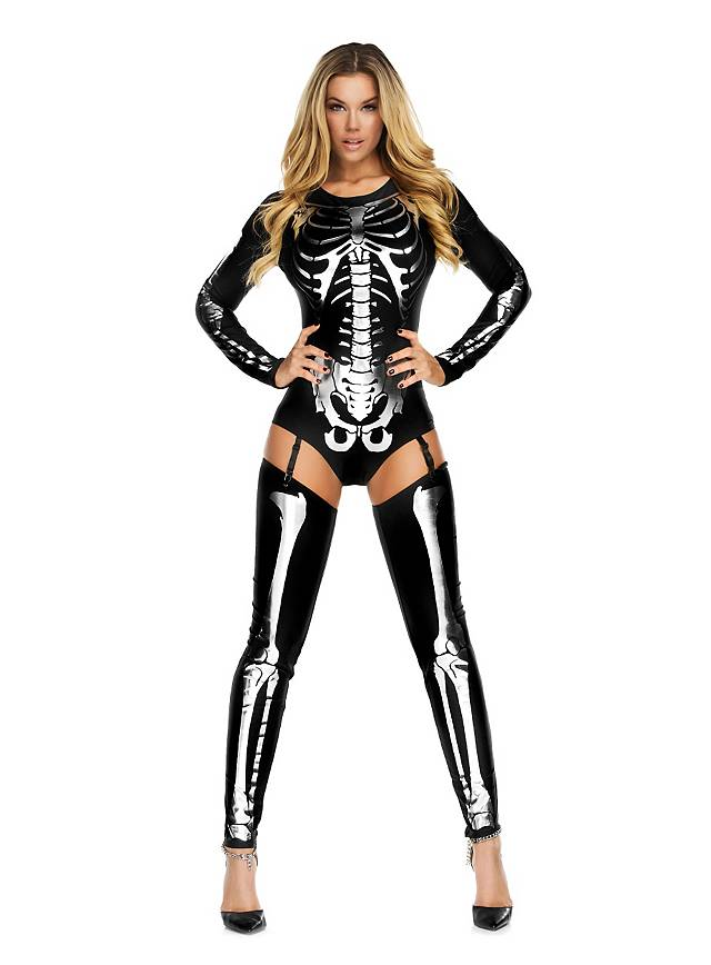 Skeleton Bodysuit black with Leg Warmers