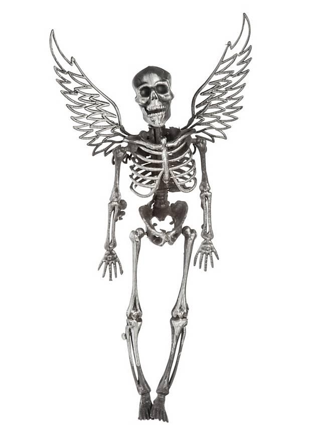 Skelett mit Flügeln silber Halloween Deko - maskworld.com