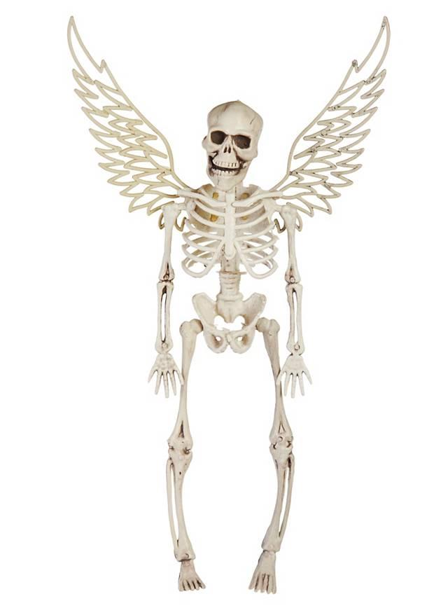 Skelett mit Flügeln weiß Halloween Deko - maskworld.com