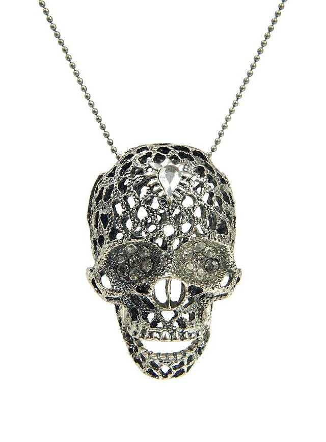 Skull with Rhinestones Necklace silver