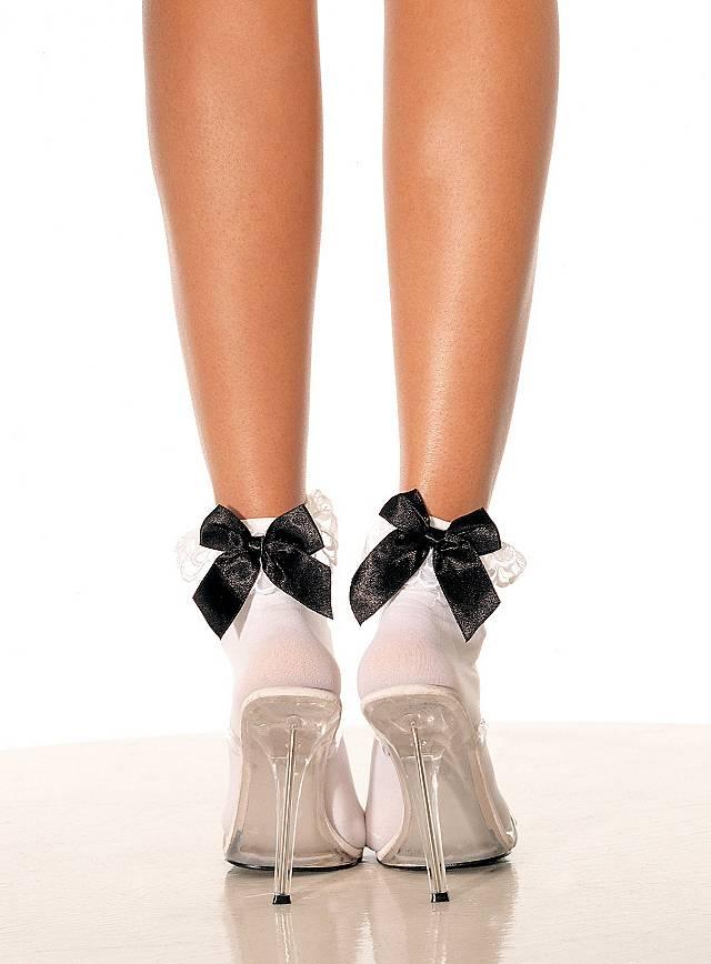 Socquettes blanches à nœuds noirs