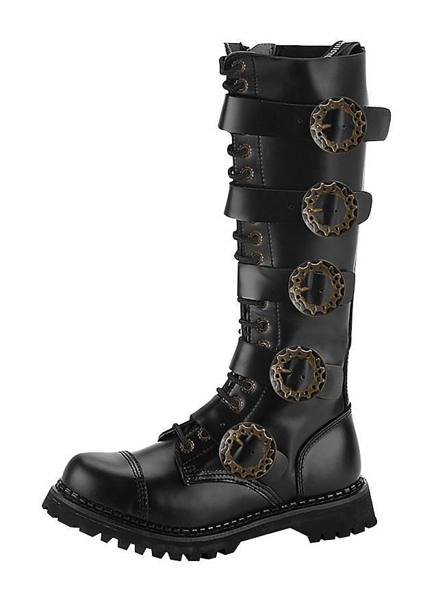 steampunk boots men black