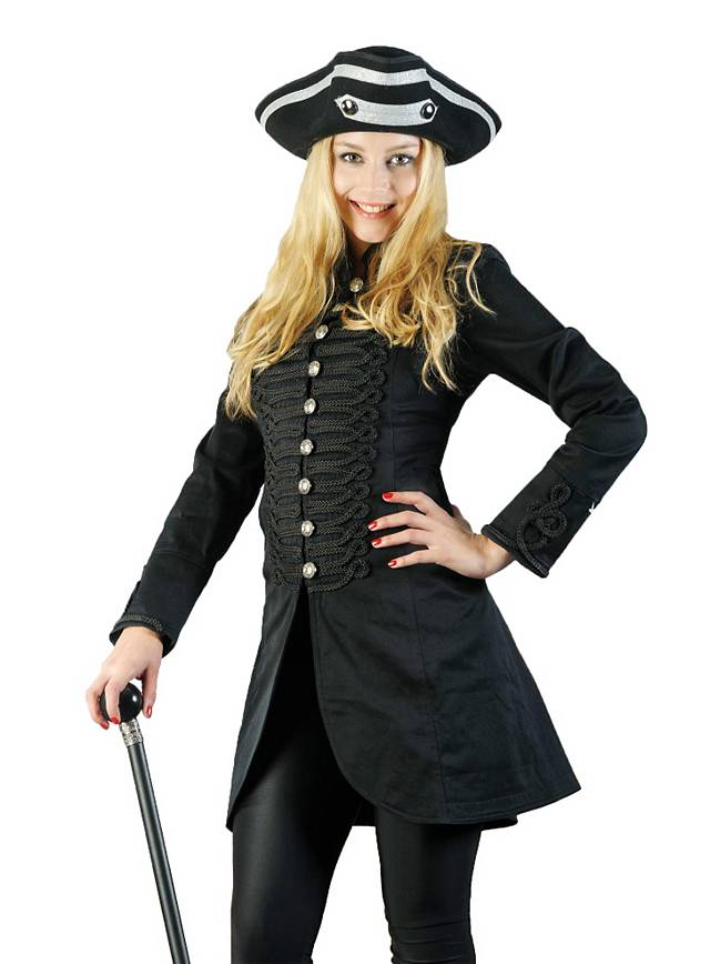 eleganter steampunk uniform damen piraten mantel kurz baumwolle schwarz larp ebay. Black Bedroom Furniture Sets. Home Design Ideas