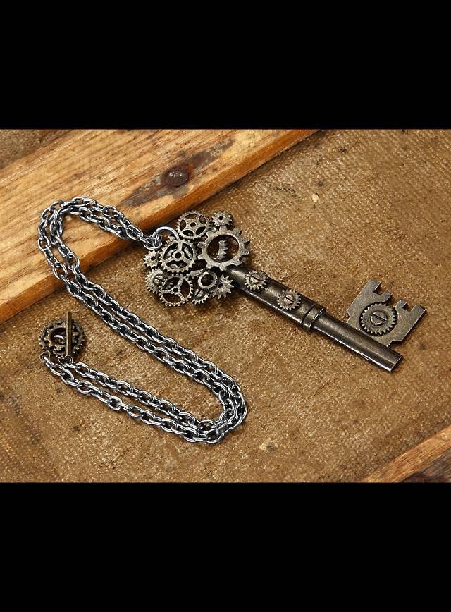 Steampunk Key Pendant includes chain