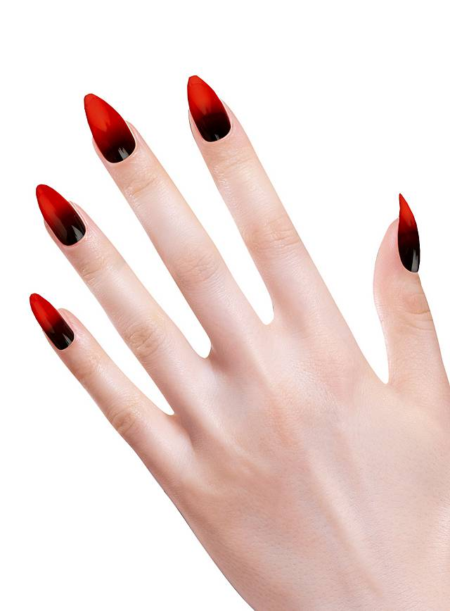 Stiletto fingernails black-red