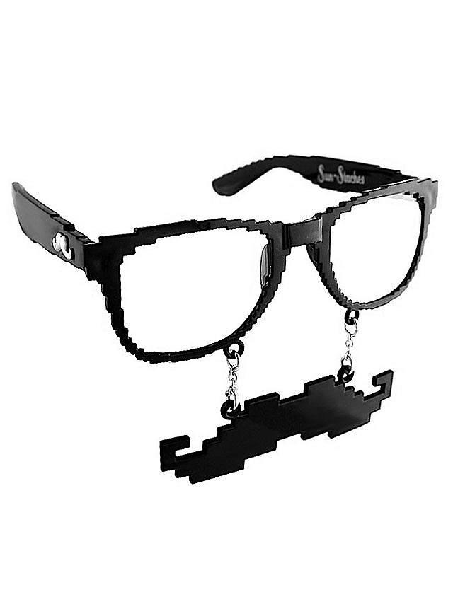 Sun-Staches Black Pixel Party Glasses