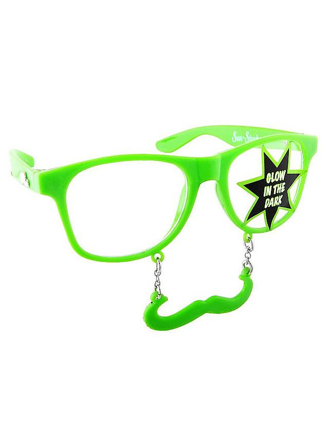 Sun-Staches Classic neon green Party Glasses