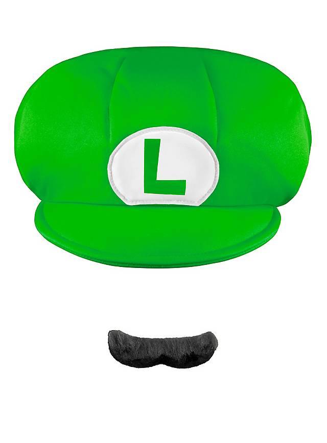 Super Mario Luigi Mütze & Bart Set für Kinder
