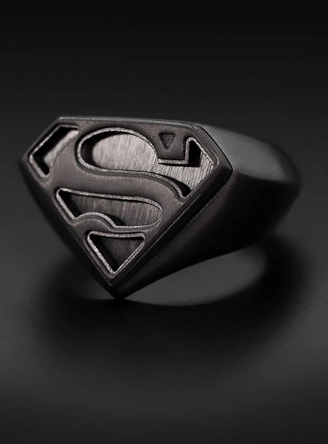 superman logo ring black