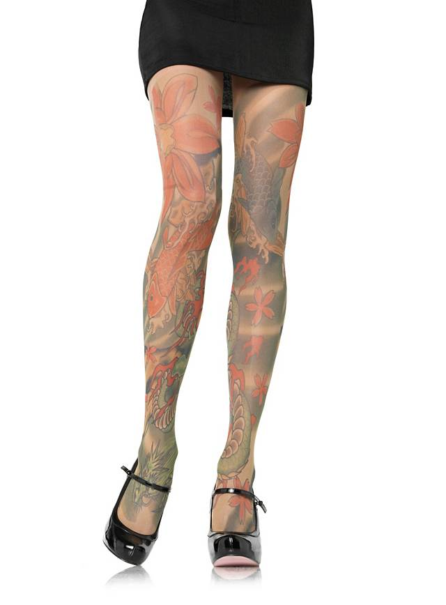 tattoo strumpfhose mit asia muster. Black Bedroom Furniture Sets. Home Design Ideas
