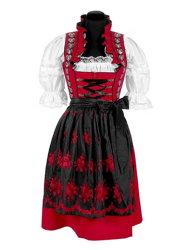 trachten dirndl mit sch rze rot. Black Bedroom Furniture Sets. Home Design Ideas