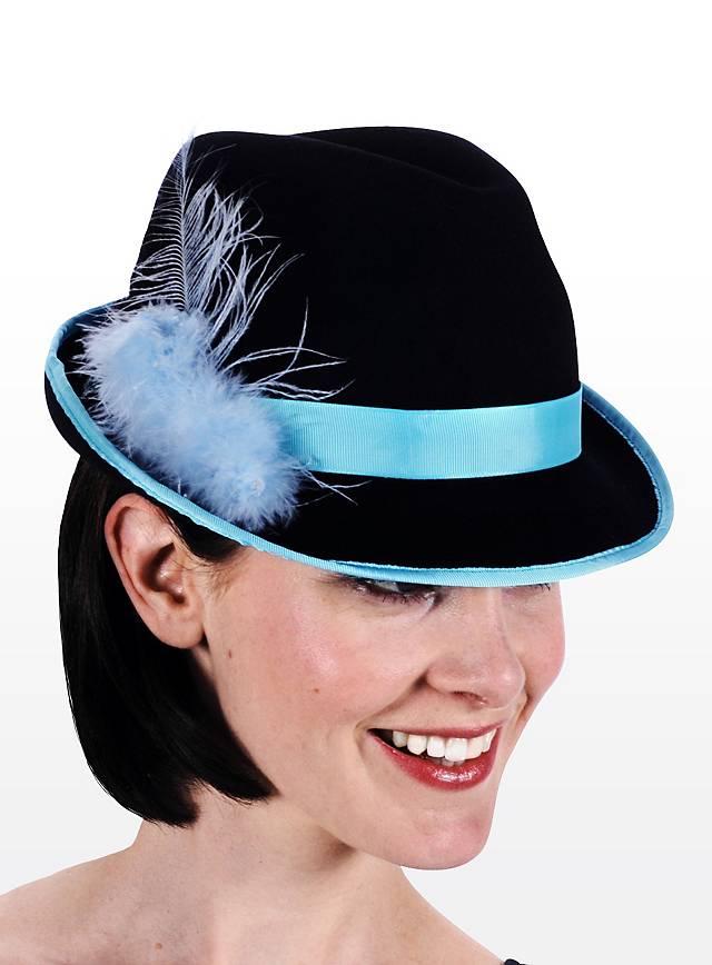 Trachtenhut Damen blau-schwarz
