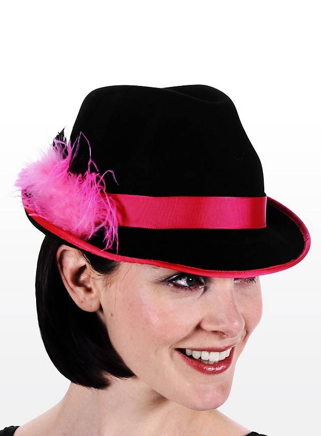 Trachtenhut Damen pink-schwarz