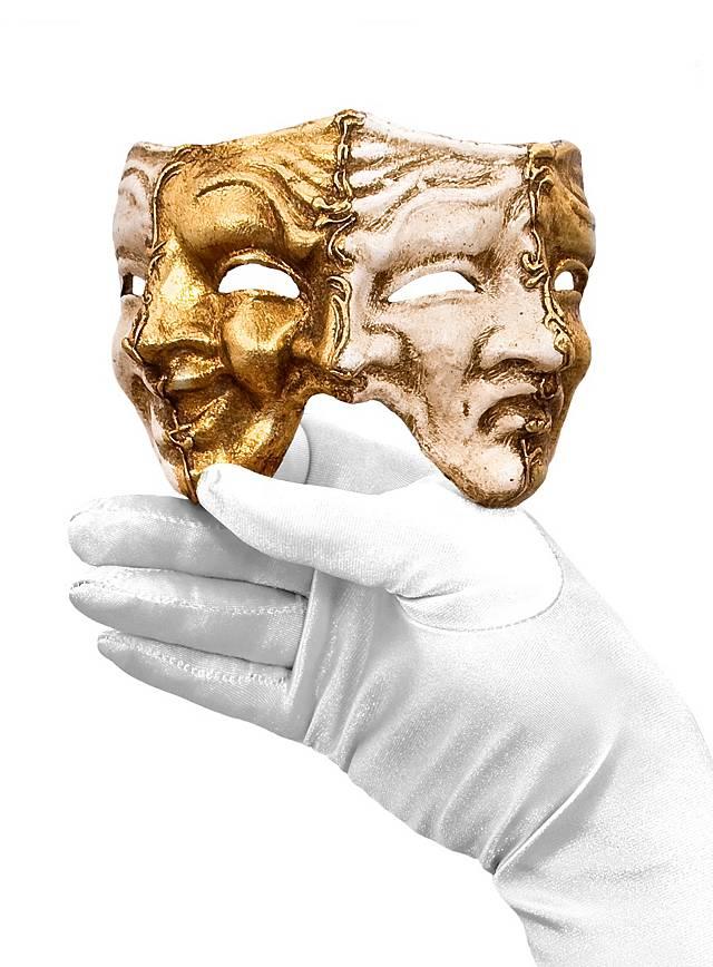 Trefaccia medio oro bianco Venezianische Miniaturmaske