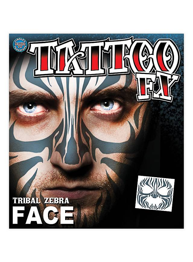 Tribal Zebra Gesicht Klebetattoo Maskworld Com