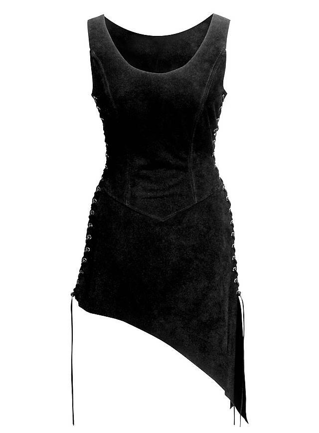 Tunique de serveuse en daim noir