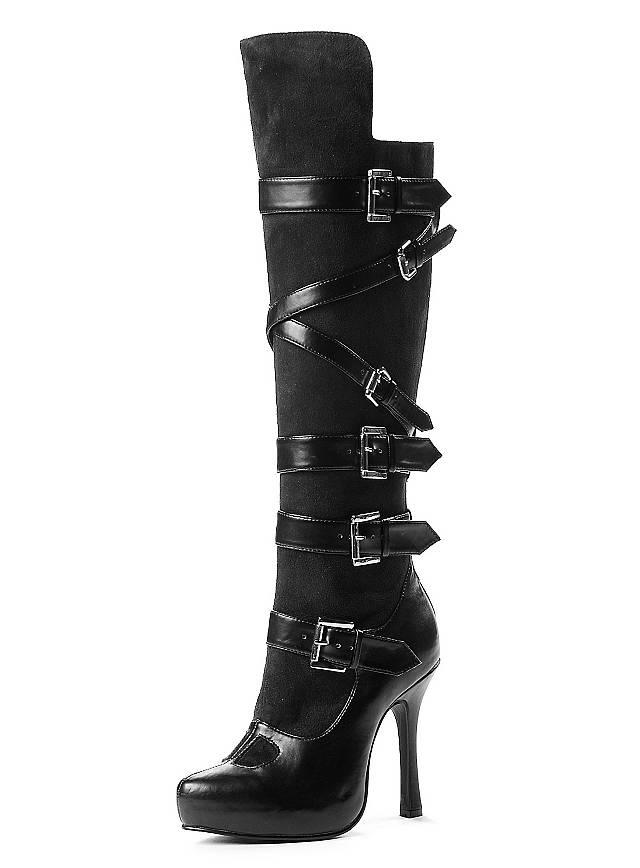 uniform stiefel mit schnallen schwarz