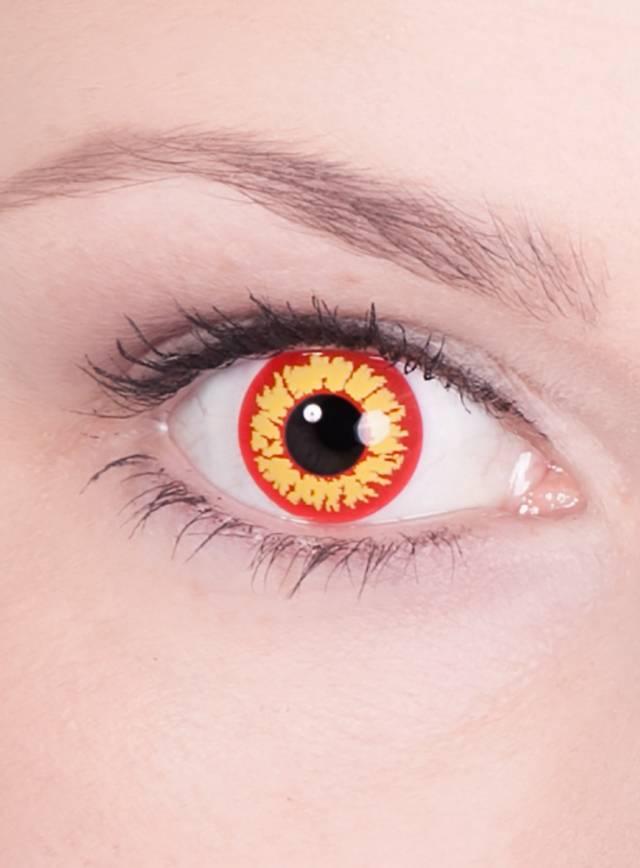 Rot-gelbe Kontaktlinsen für die original Pennywise Schminkanleitung