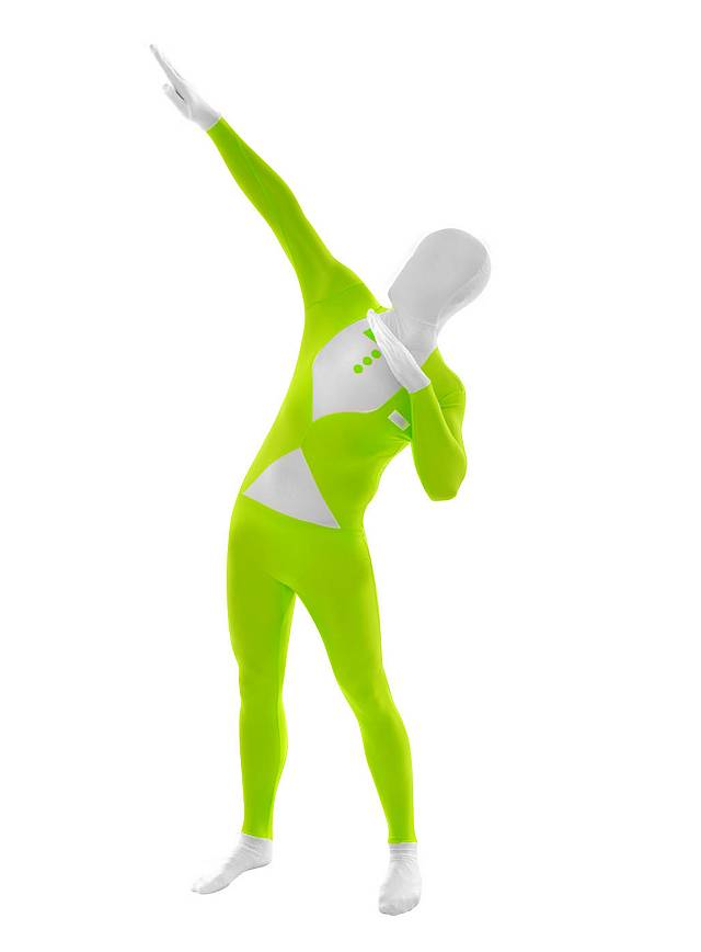 UV Morphsuit Smoking grün Ganzkörperkostüm
