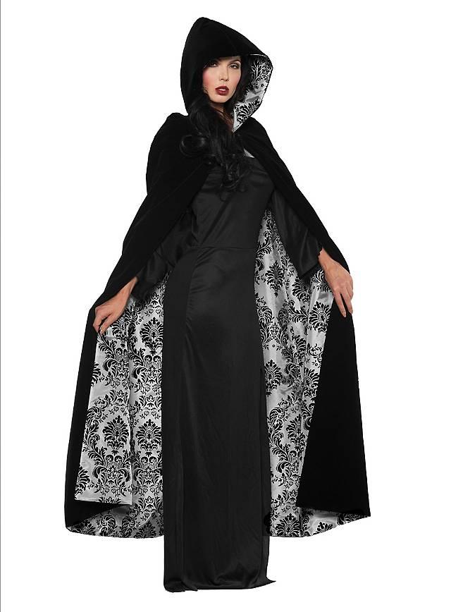 Velvet cape with hood black-gray