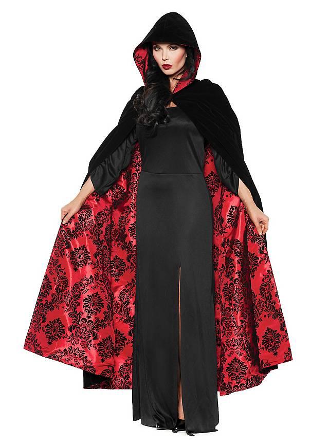 Velvet cape with hood black-red