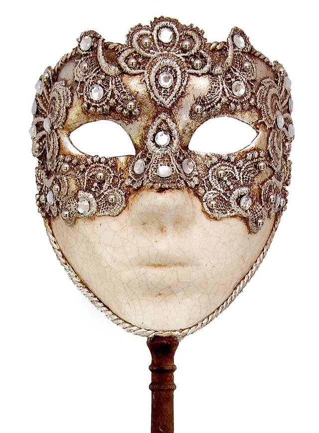 Volto macrame argento con bastone Masque vénitien