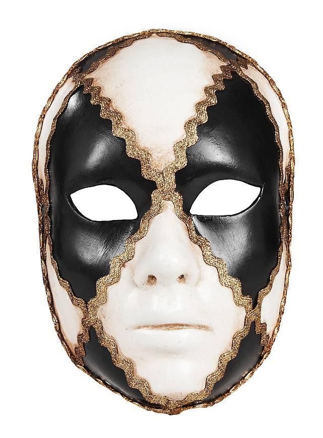 Volto Scacchi Bianco Nero Femminile Venezianische Maske Maskworld