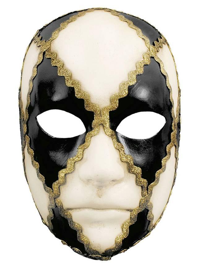 Volto scacchi bianco nero - masque vénitien