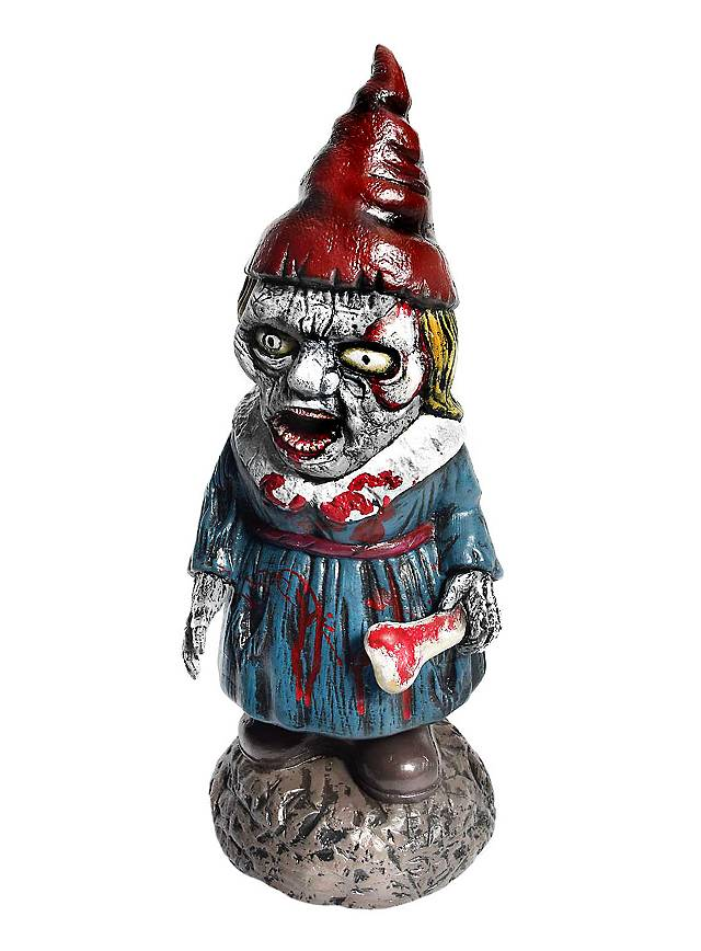 Zombie Gartenzwerg Frau Halloween Deko
