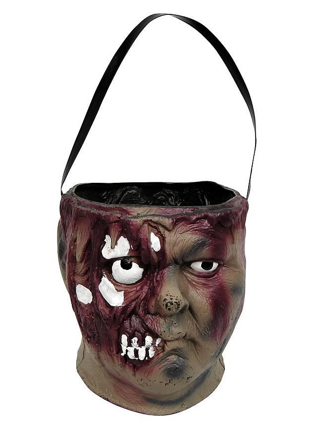Zombie Head Treat Bucket Halloween Decoration