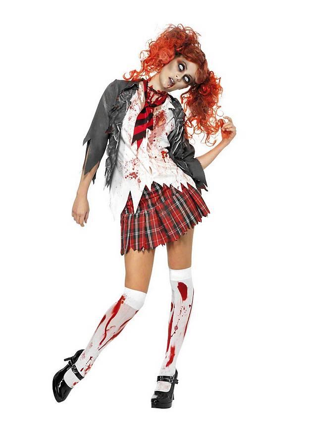 Mottowoche Idee: Zombies, hier umgesetzt mit dem Zombie Schulmädchen Kostüm