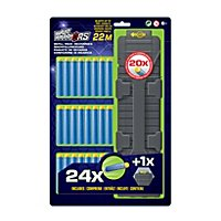 BuzzBee - Air Warriors 24 Long Distance Darts + Magazin