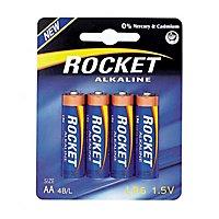 Rocket Alkaline AA Batterie 4er Pack für Blaster und Spielzeug - z.B. Nerf Rayven, Stockade, Stryfe